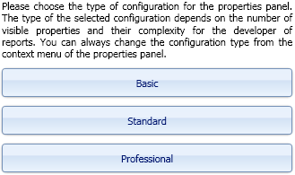 Configurations on the properties panel