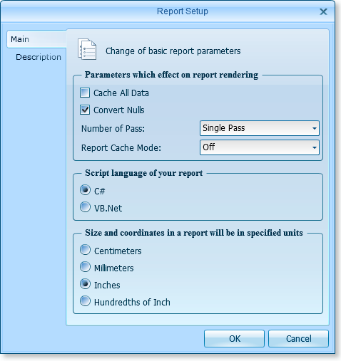 Reports and Page Setup Dialogs