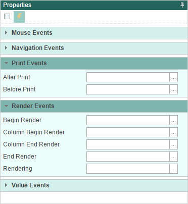 events tab in reports web