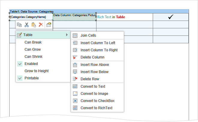 Support for the Table component in Reports.Java and Reports.Web