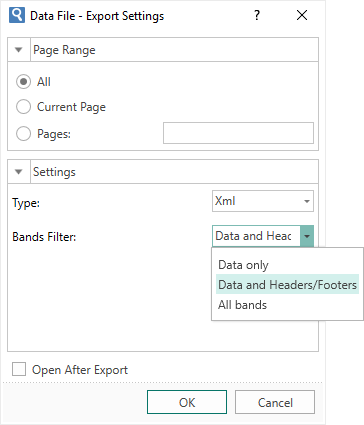Filtering Data in the Export to XML