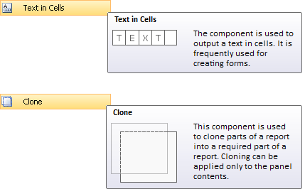 Clone and Text In Cells components
