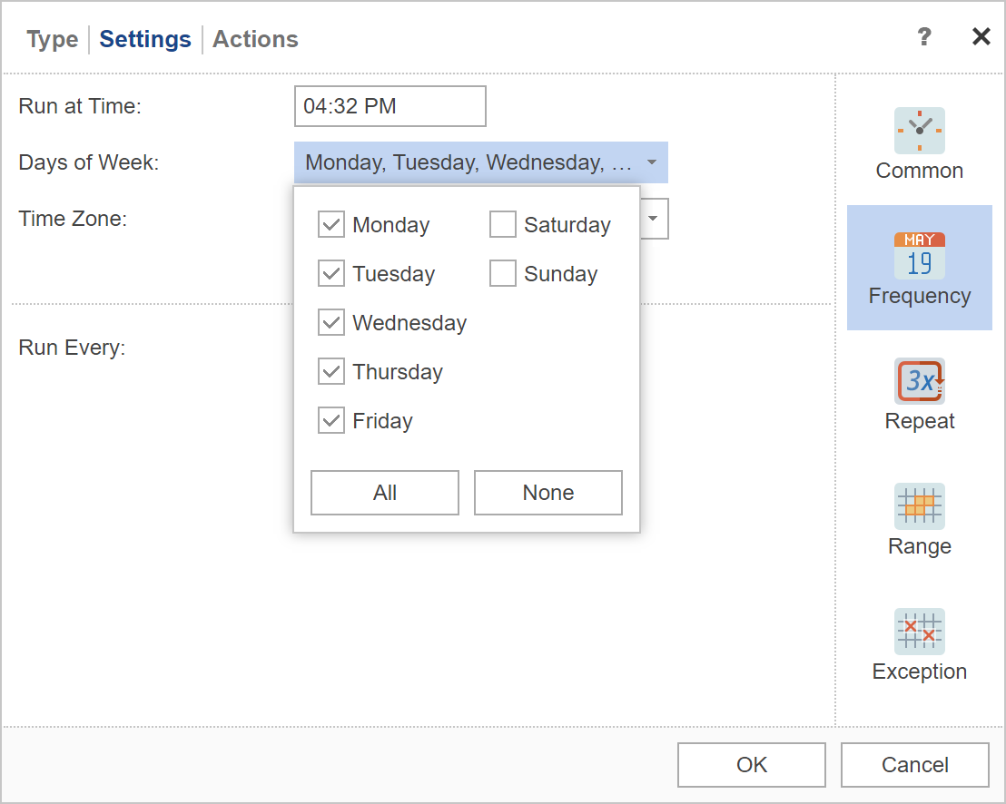Scheduler Settings