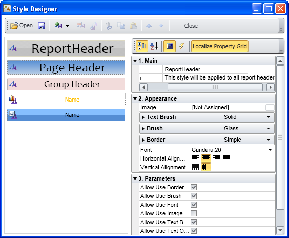 Set a style for a report in Ribbon GUI