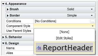 Apply Style to report header
