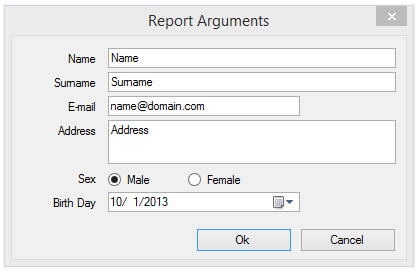 Dialog Forms for Parameters of Report Output